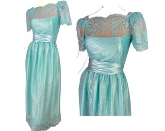 592d11836b9 Vintage Baby Blue Lace 1970s Garden Party Dress Size Small
