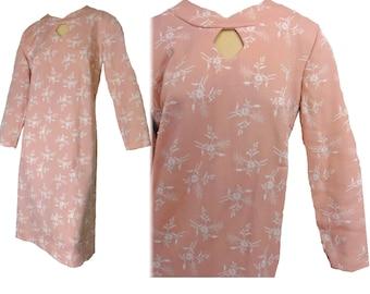 "Plus Size NOS Vintage 70s Dress Pink Floral Polyester Double Knit Size XL ""Better Half"" Label"