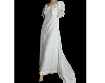 Vintage Mod 60s Wedding Dress with Train White Empire Waist Bridal GownLace Ruffles Jane Austin Regency Style Dotted Swiss