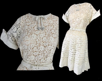60s Dress, Cream Sheer Lace and Linen Bands Vintage 1960s Fit and Flare Dress