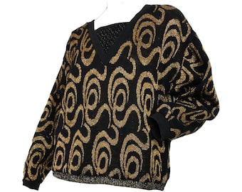 365f40f2cb 1980s Sweater Black and Gold Lurex Vintage 80s Pullover Sweater Abstract  Print Acrylic