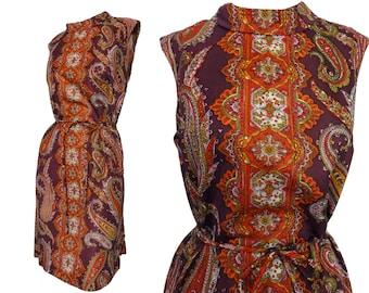 "Deadstock 60s Shift Dress Purple Pink Orange Paisley Print Jersey 42"" Bust/ Original Belt"