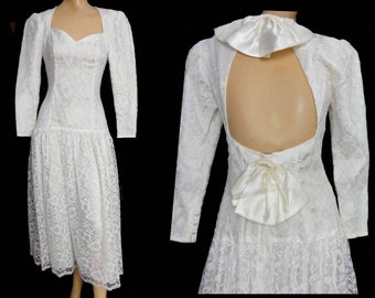 Vintage 80s Party Dress Gunne Sax Off White Lace Wedding Dress Dropped Waist /Open Back /Size Small