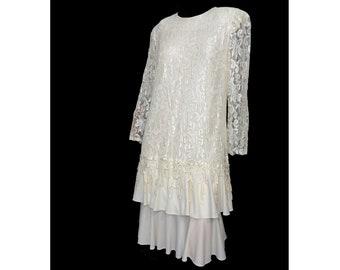 "Vintage 1980s Party Dress Off White Lace Flapper Dress Size Large ""David Rose"""