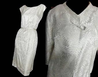 Cocktail Suit Vintage 60s Sheath Dress and Jacket Metallic Jacquard Gold and Cream Wedding Suit R & K Originals