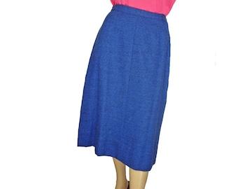Wiggle Skirt Vintage 1950s Skirt Pin Up 50s Pencil Skirt Blue Wool Medium