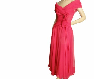 b6d28415be2f Vintage 80s Party Dress Jessica McClintock Ruched Off Shoulder Pink Chiffon  Evening Gown Size Small