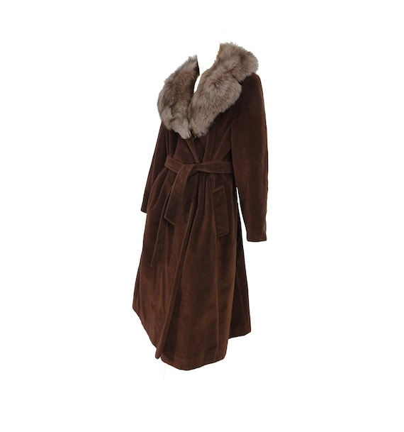 Vintage 60s Coat Belted Trench Coat Real Fox Fur C