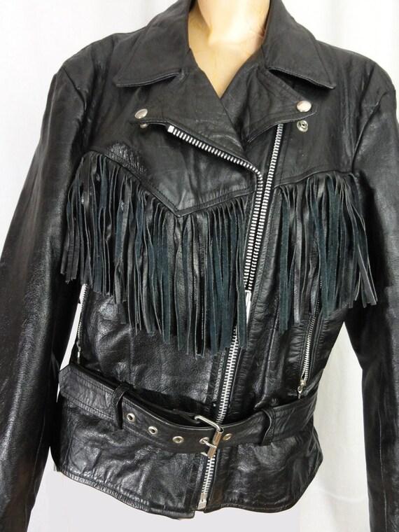 Fringed Leather Biker Jacket Woman's Black Leathe… - image 3