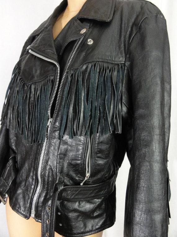 Fringed Leather Biker Jacket Woman's Black Leathe… - image 4