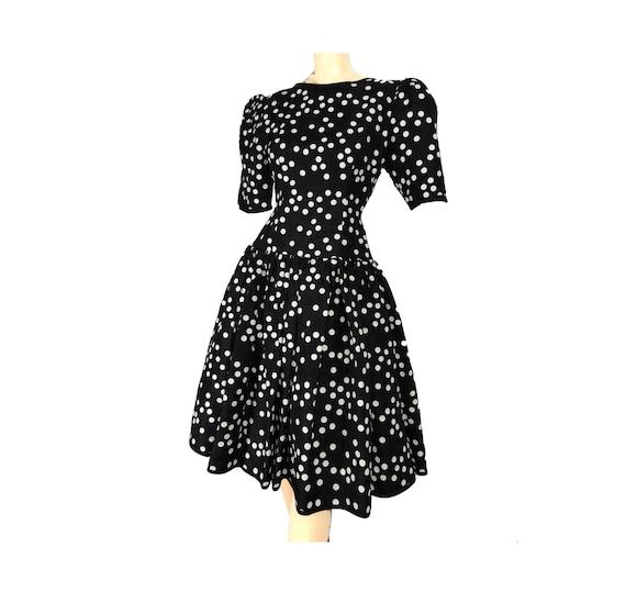 Black Polka Dot 80s Prom Dress Vintage