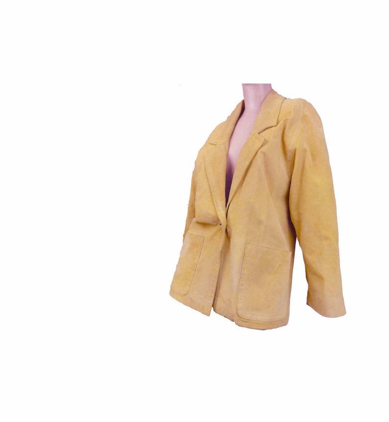 80s Leather Jacket Vintage Boyfriend Jacket Suede Blazer Yellow Gold Size Small Avant Garde