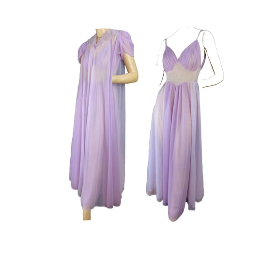 Purple Lilac Nightgown and Robe Lingerie Set Vintage 50s  4bd0218d7