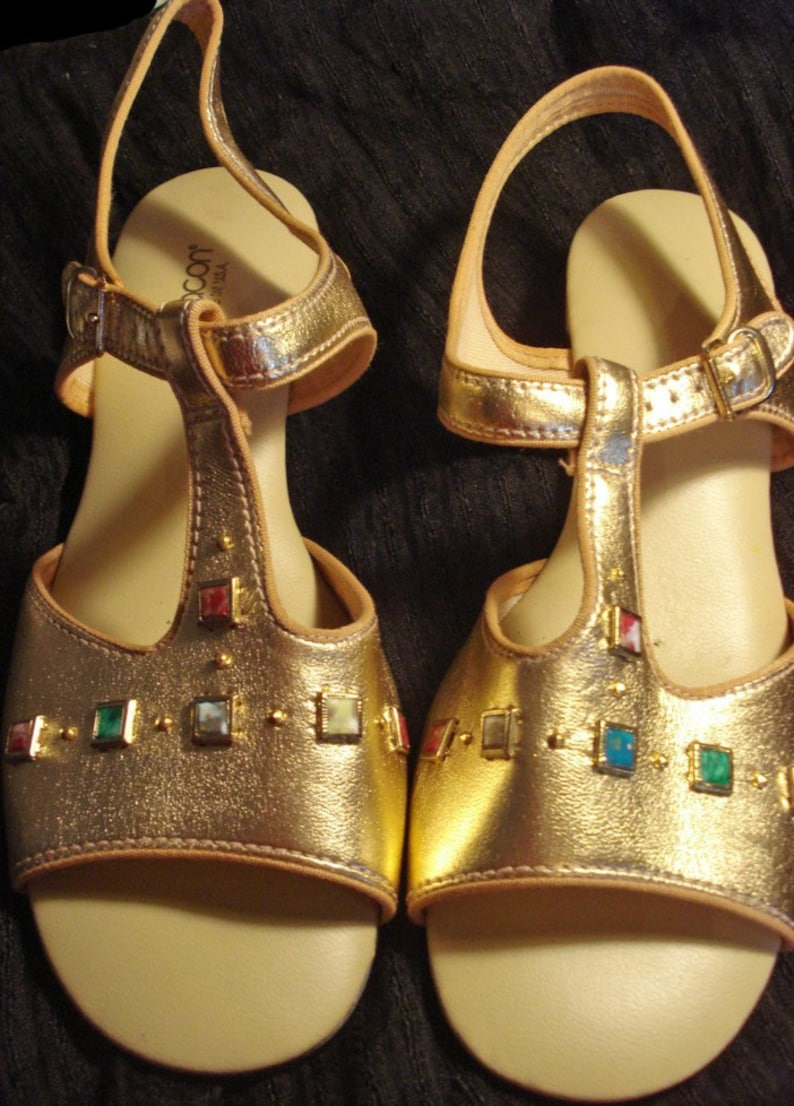 4a68ccba67f4d Vintage 70s Sandals Gold Shoes Multi Color Jeweled Goddess Sandals 7M  Chunky Heels Peep Toe