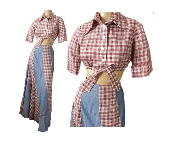 Maxi Dress Vintage 70s Boho Hippie Two Piece Set B