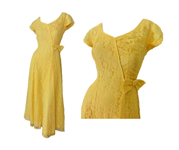 Vintage 40s Formal Yellow Lace Prom Ball Gown Bow