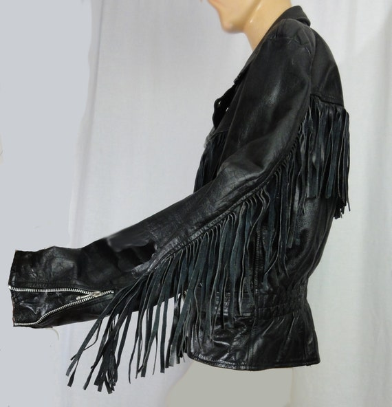 Fringed Leather Biker Jacket Woman's Black Leathe… - image 6