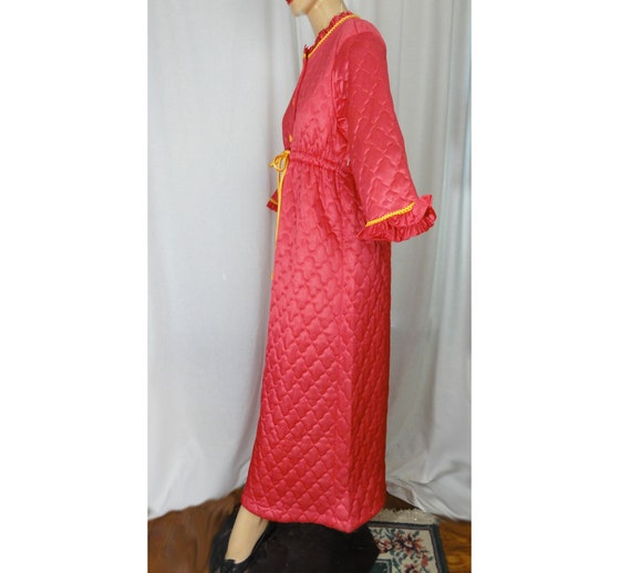Vintage 1960s Robe Deadstock Long Hot Pink and Ye… - image 5
