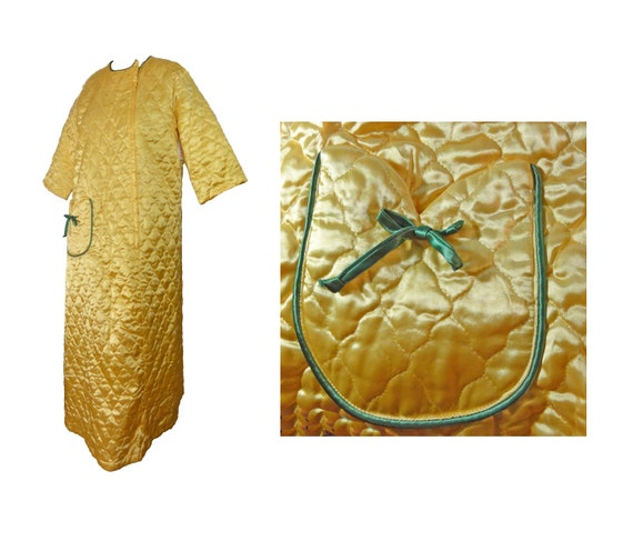 NOS Vintage 60s Robe Quilted Gold Satin Size Large