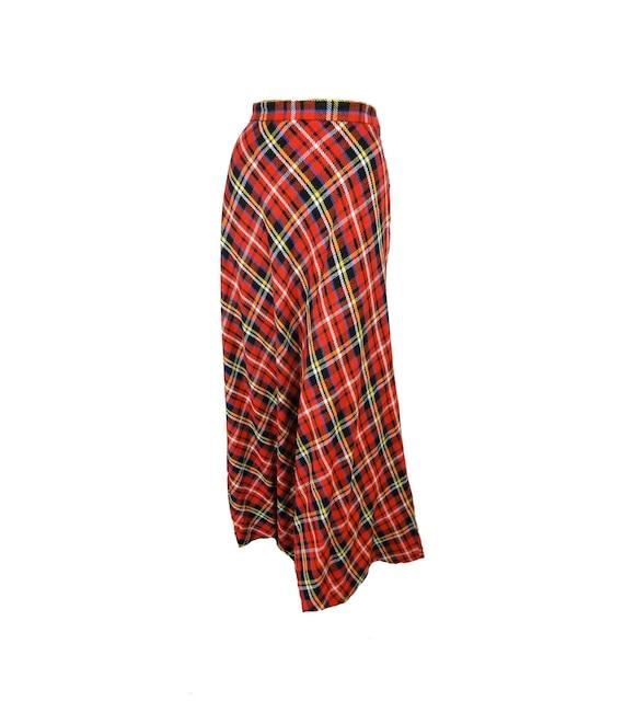 Red Tartan Plaid Vintage 1970s Maxi Skirt A Line C