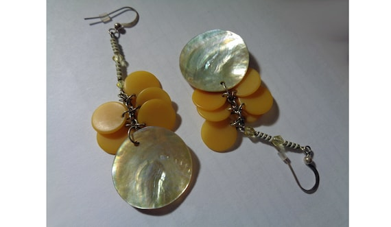 gypsy boho bohemian style Baltic amber and chain tassel earrings extra long duster earrings orange yellow with silvery