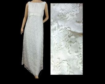 Vintage Mod 60s Lace Wedding Gown Empire Waist, Sleeveless, Regencycore