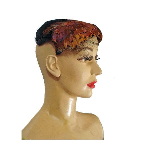 Vintage 1950s Hat Feathered Black Velvet Cocktail… - image 4