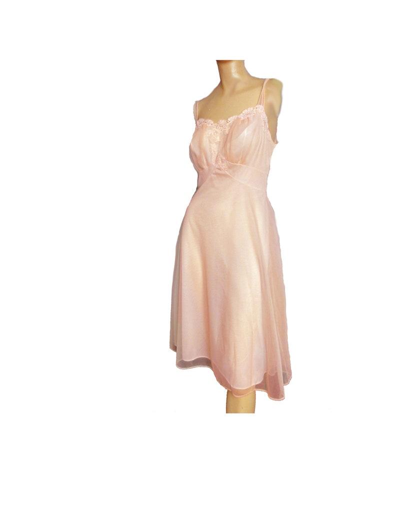 03b1b9747 Vintage 50s Nightgown 1950s Nightie Pink Chiffon Nylon Lace