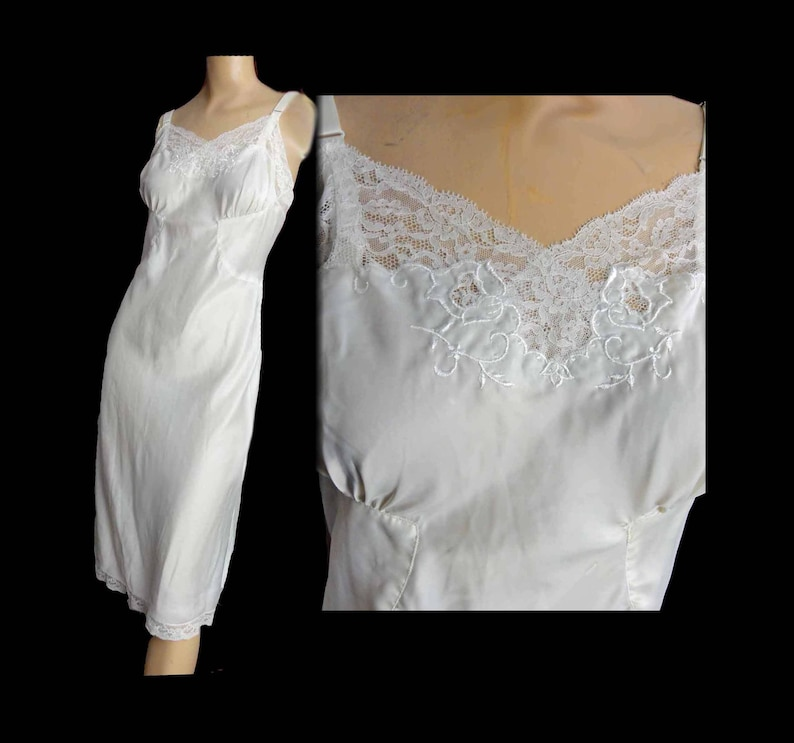 aa32337e0 Vintage Hollywood Glam 1940s Slip Cream Off White Satin Bridal
