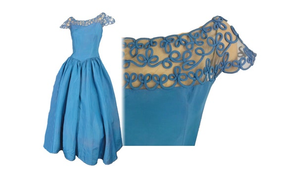 Vintage 40s-50s Formal Blue Prom Ball Gown Taffeta