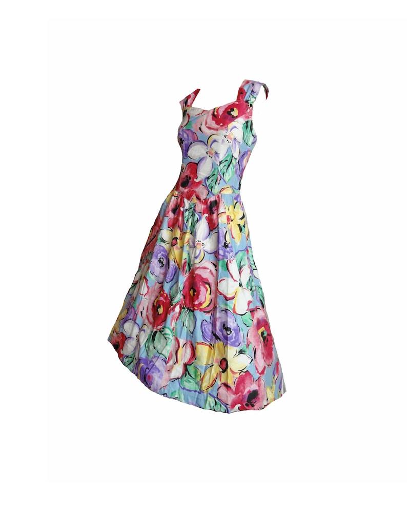 31df88e11cd5 Vintage 80s Dress Garden Party Pastel Floral Cotton Sundress   Etsy
