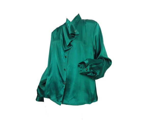 Vintage 1980s Blouse Forest Green Satin, Rhineston