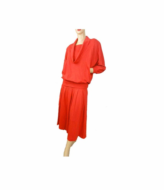 Vintage 80s Dress Two Piece Set Batwing Sleeve Ora