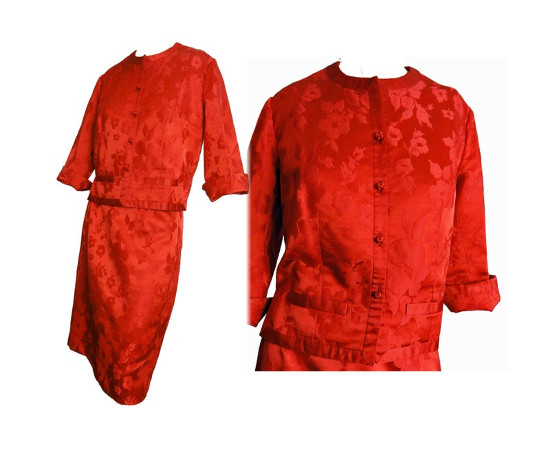 Mod 60s Suit Cocktail Suit Red Silk 3 Piece Set Jackie Kennedy Era Evening  Suit Red Brocade Made in Hong Kong