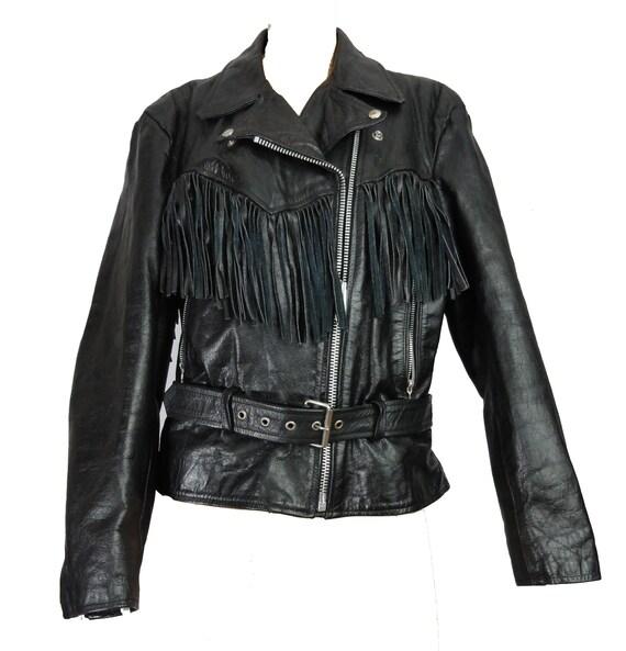 Fringed Leather Biker Jacket Woman's Black Leathe… - image 2