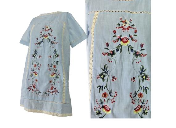 Vintage Boho Hippie 1970s Cotton Tunic Top Baby Bl