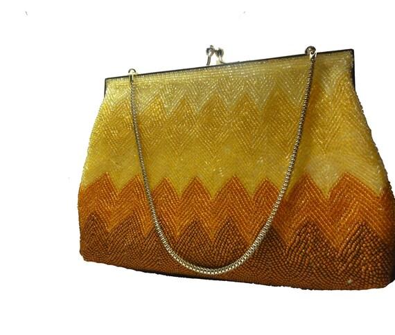 Mod Vintage 60s Purse Evening Bag Beaded Handbag Y