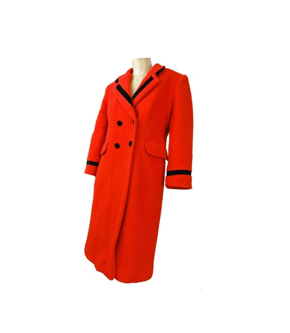 Vintage 80s Coat Rothschild Military Design Red Wo
