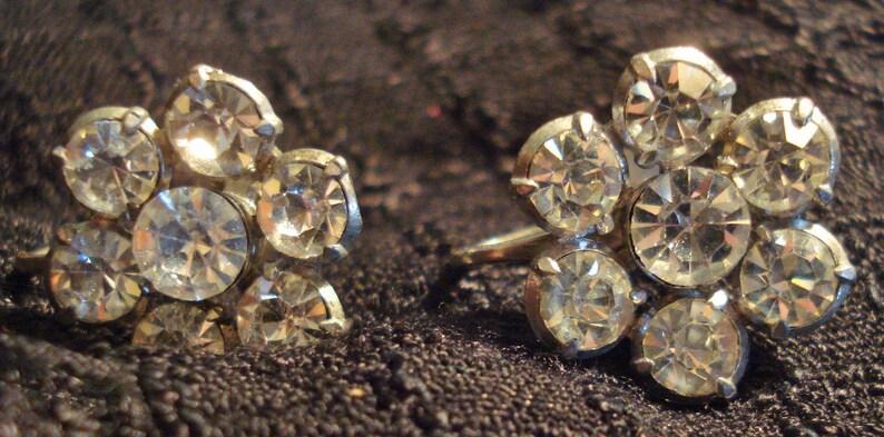 Vintage 50s Earrings Two Pairs of Clear Rhinestone Earrings Screw On Mid Century Modern