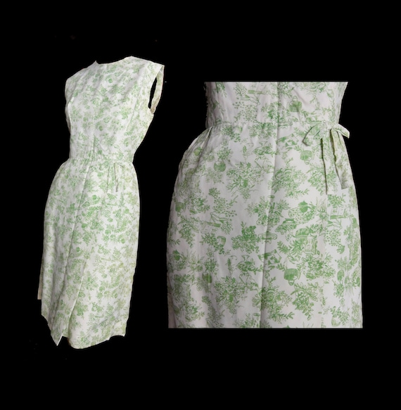 Vintage 1950s Dress Sleeveless Summer Sheath Dress