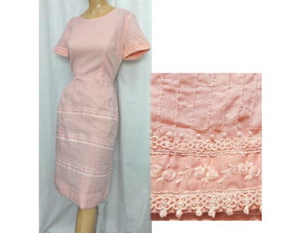 Pink Cotton Vintage 50s - 60s Sheath Lacy Summer D