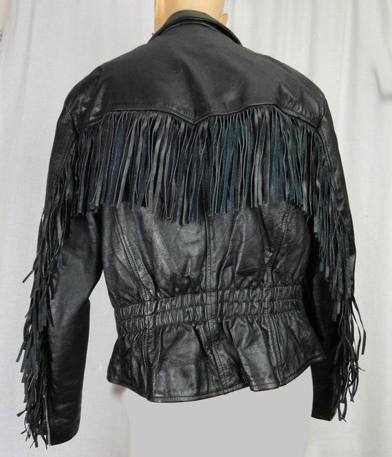 Fringed Leather Biker Jacket Woman's Black Leathe… - image 7