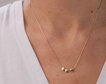 Three gold Heart Necklace, Best Friend gift, Heart Necklace, Gift for her, Gold Necklace mom necklace, gift for her
