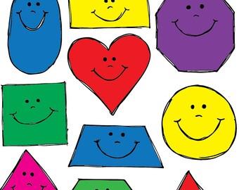Smiling Shapes Clipart Set INSTANT DOWNLOAD