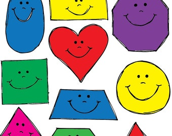 Smiling Shapes COMBO Clipart Set INSTANT DOWNLOAD