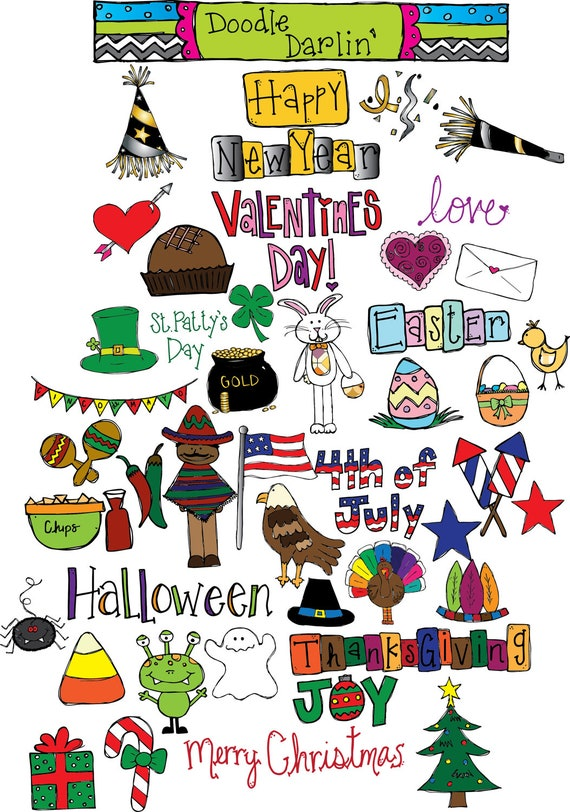 Halloween Thanksgiving Christmas Clipart.Holiday Mega Combo Clipart Set Instant Download