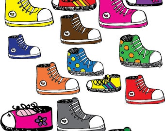 Colorful Sneaks COMBO Clipart Set INSTANT DOWNLOAD