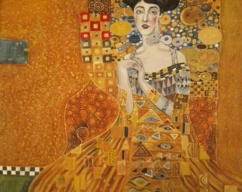 Golden Adele. Hand painted silk square scarf original interpretation of Gustav Klimt's Portrait of Adele Bloch-Bauer
