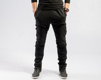 8b879f262 Minimalist black pants / Men's Ninja pants / Black avant garde sweatpants /  Mens futuristic fashion