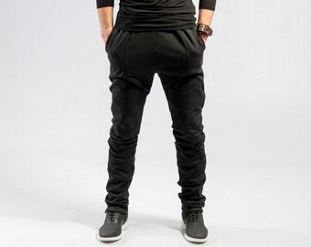 8b879f262 Minimalist black pants / Men's Ninja pants / Black avant garde sweatpants /  Mens futuristic fashion